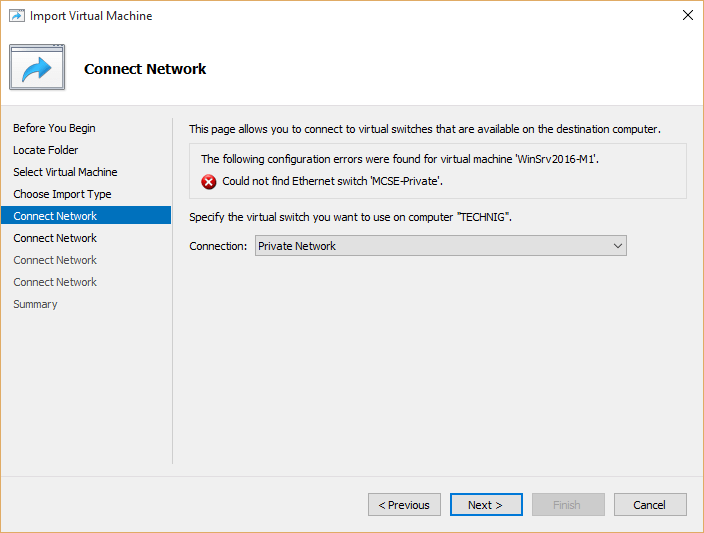 Select virtual machine netowrk card