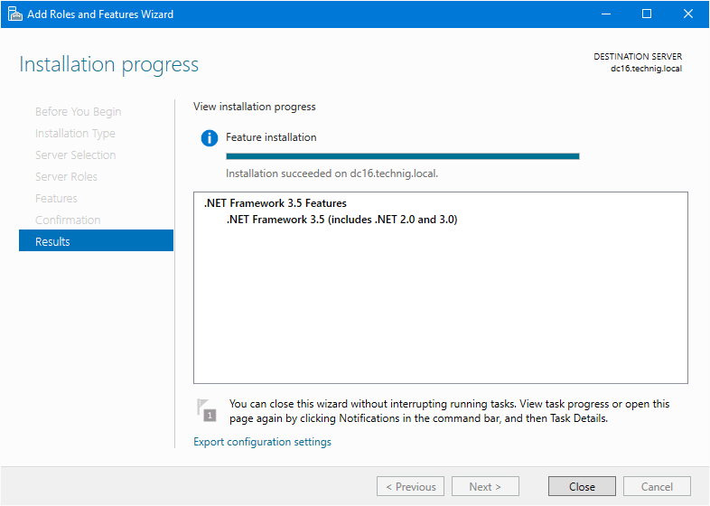 Install NET Framwork on Windows Server 2016