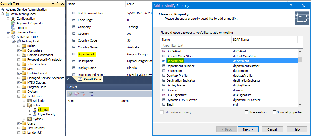 Edit Active Directory Object Settings