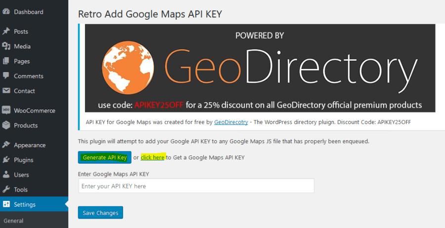 Generate API Key for Google Maps