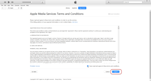 Create Apple ID - Agree the Term & Condition