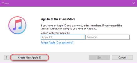 Create Apple ID - Select Create New Apple ID