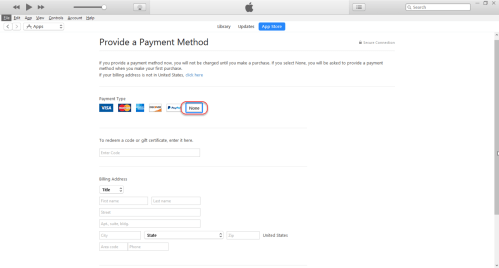 Creating Apple ID - Select Payment Method