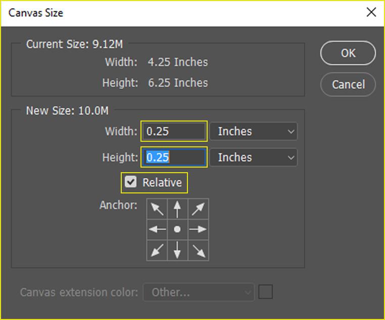 Photoshop Canvas size - Technig