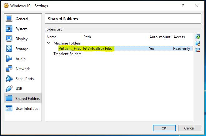 VirtualBox Shared Folder Option