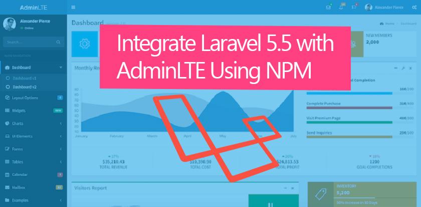 AdminLTE Plus Laravel 5 Integration with NPM - Technig