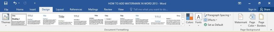 Costume watermark in word 2016