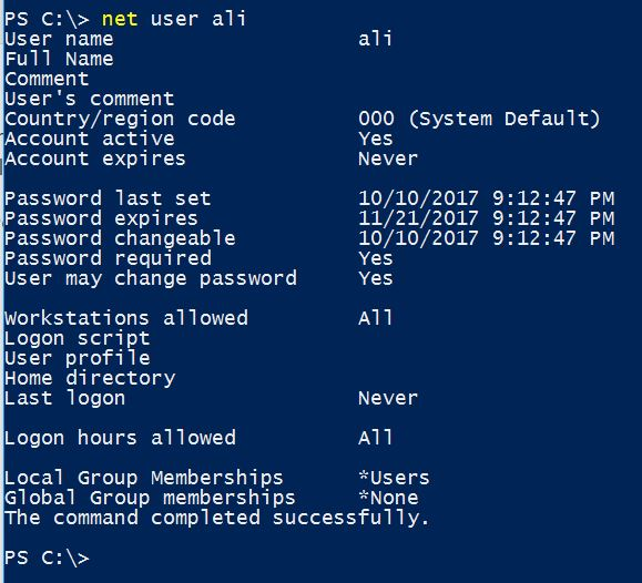Managing User Account using Command Line in Windows 10 - Technig
