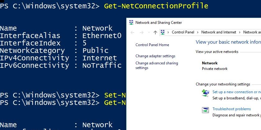 change from public to private network powershell