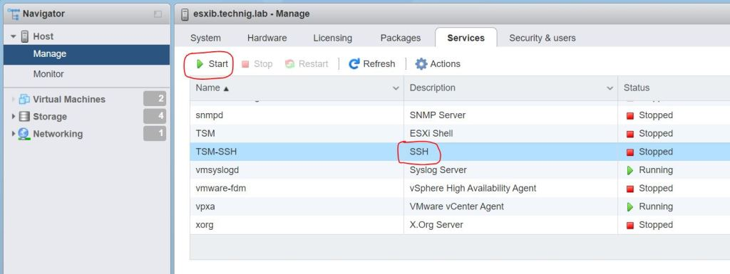 Enable SSH on ESXi Host - Technig