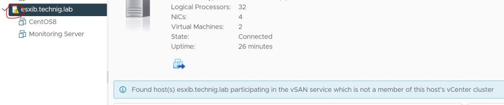Found host(s) esxib.technig.lab participating in the vSAN service which is not a member of this host's vCenter cluster