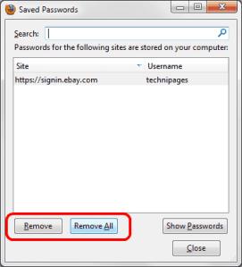 Delete Saved Password in Firefox