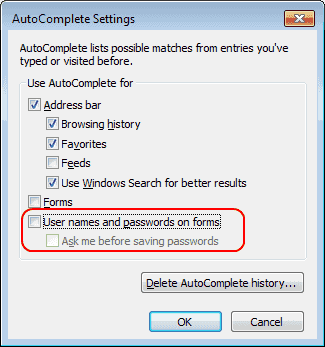 IE AutoComplete Settings - User names and passwords setting