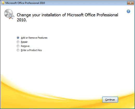 Office 2010 Add Remove Features option