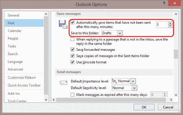 Outlook 2013 Draft save setting