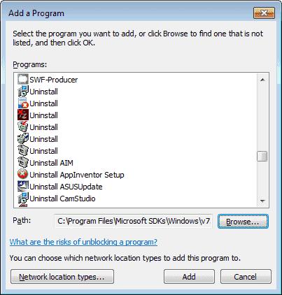 Win7 Add program to the firewall list
