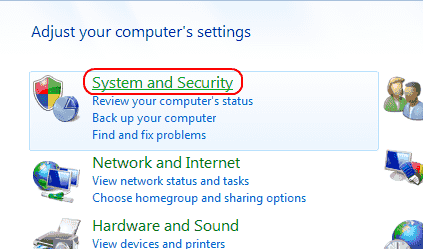 Win7 System and Security icon
