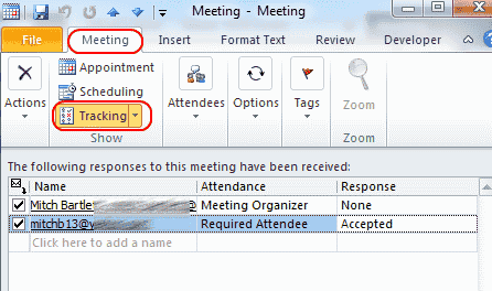 Outlook 2010 Appointment tracking screen
