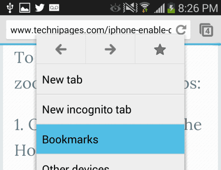 Chrome Android Bookmarks option