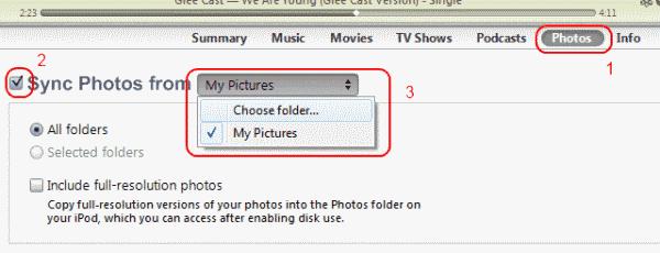 Photos tab in iTunes