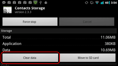 Andorid clear storage from Contacts Storage