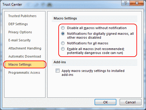 Outlook 2010 Macro settings