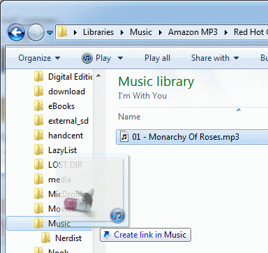 Drag music file to folder on removable disk