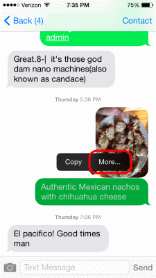 iOS Text Message More option