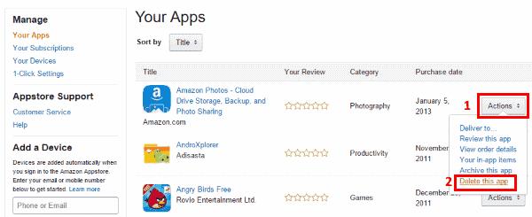 Delete app from Amazon Cloud