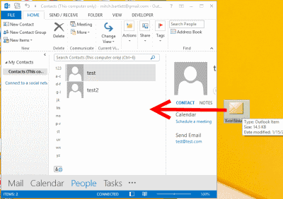Outlook drag to people window