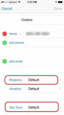 iOS Contact Ringtone