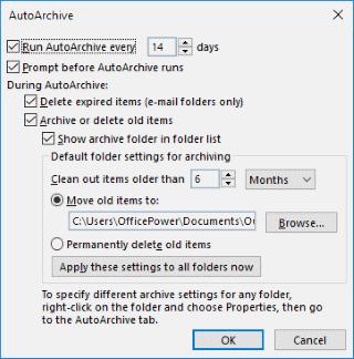 Outlook AutoArchive screen
