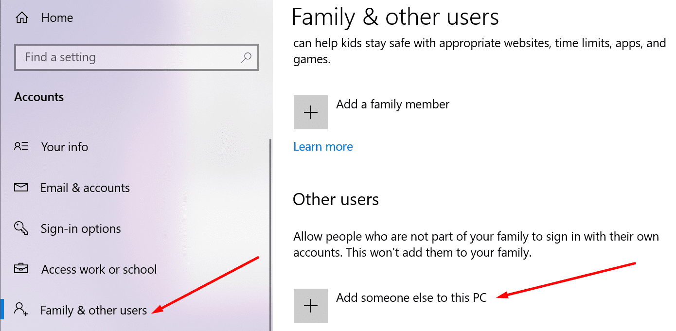 add someone else to this pc windows 10