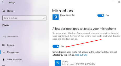 windows 10 microphone access privacy settings desktop apps