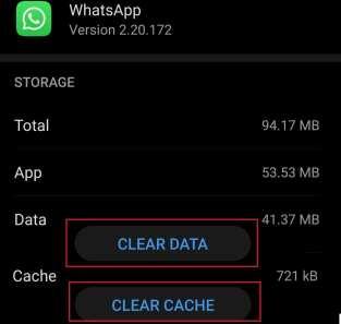 whatsapp clear cache