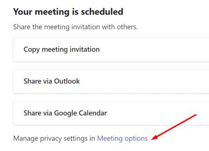 meeting privacy settings microsoft teams