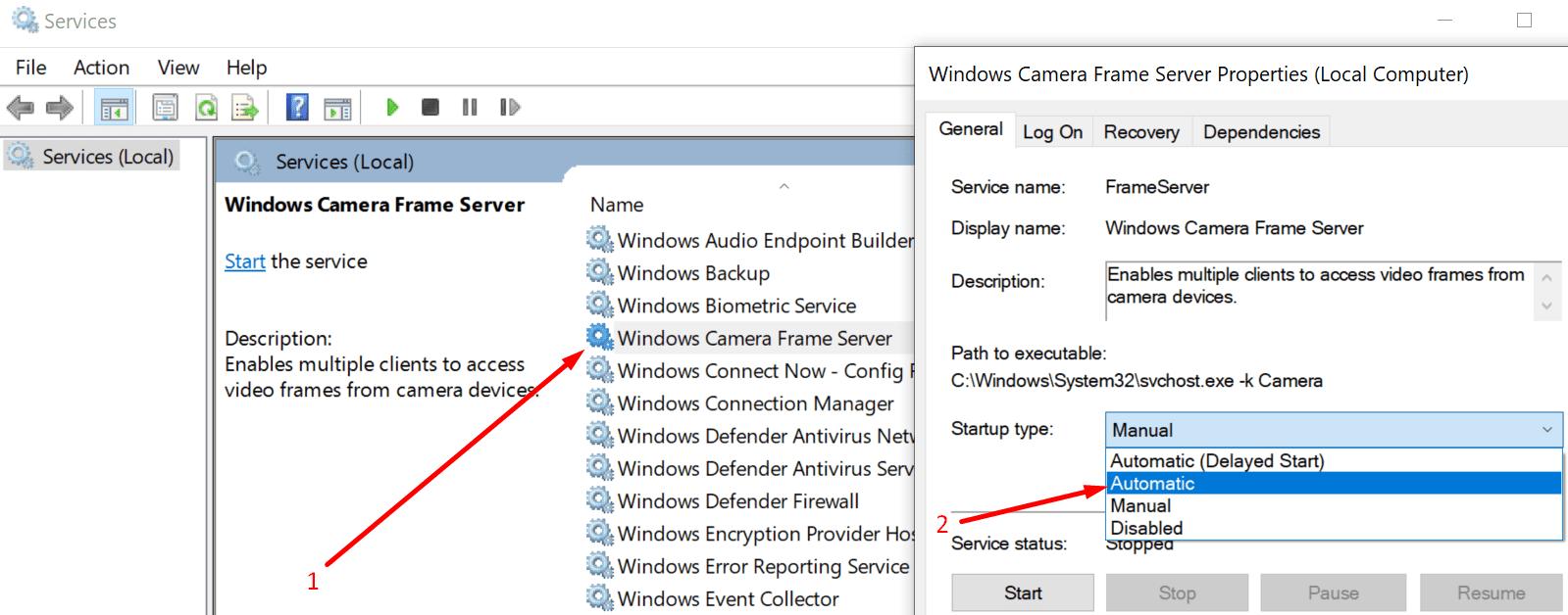 windows camera frame server service