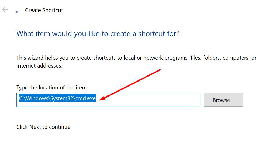 create cmd shortcut