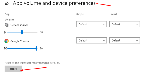 reset app volume settings windows 10