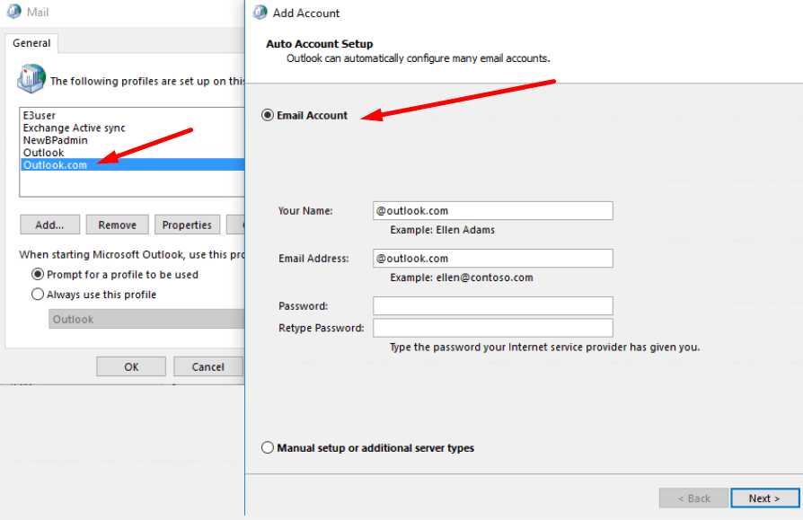 add outlook.com account exchange protocol
