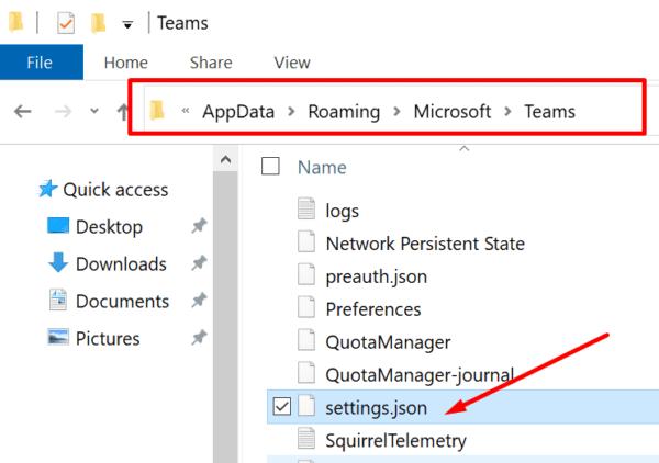 teams settings.json file