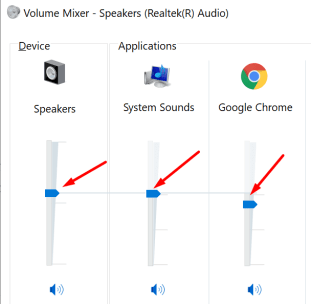 windows 10 volume mixer speakers