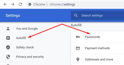 chrome autofill passwords