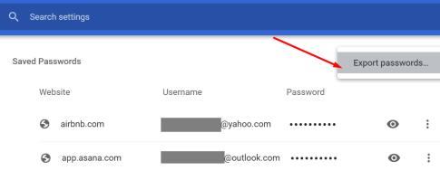 chrome export passwords