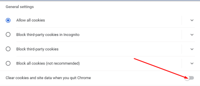 clear cookies and data when you quit chrome