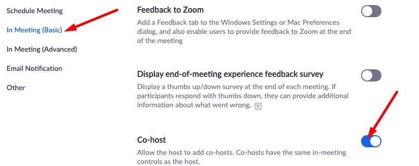 enable co-host zoom in meeting settings
