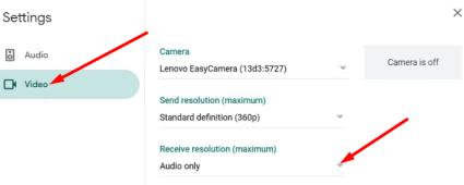 receive resolution google meet settings