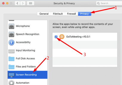 screen recording privacy settings macOS