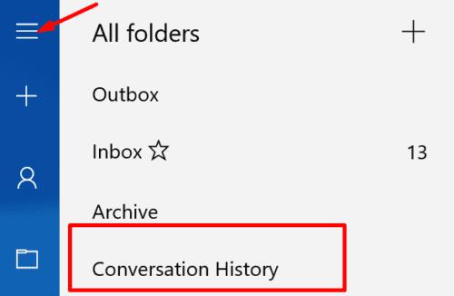 outlook conversation history folder