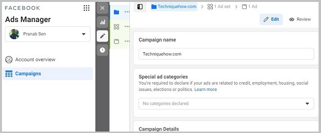 ads manager create campaign